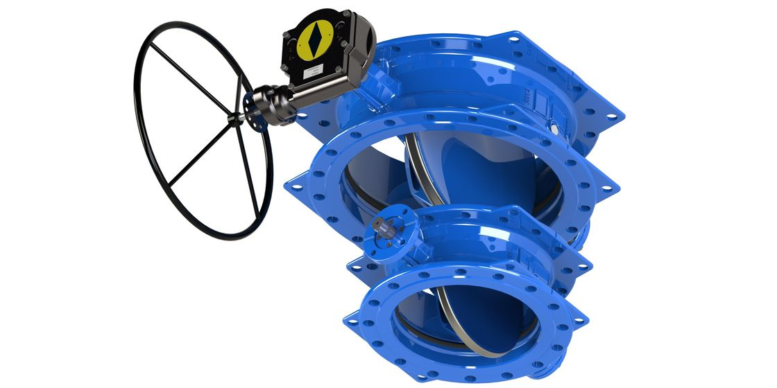 Blue Double Flange / Double Eccentric Butterfly Valve Ductile Iron Founded