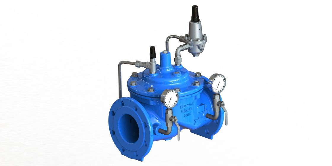Blue Diaphragm Water Pressure Flow Reducing Valve With Stainless Steel 304 Pilot