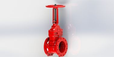 Flange / Groove Connection UL FM Gate Valve With Red Epoxy Coated