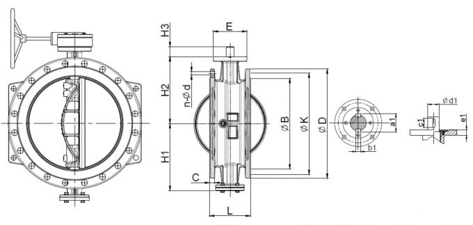 Low Torque Blue Double Eccentric Butterfly Valve With Dovetail Seal Design 3